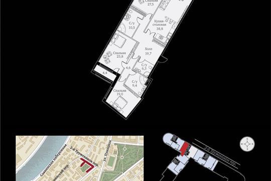 1-комнатная квартира, 167 м<sup>2</sup>, 9 этаж