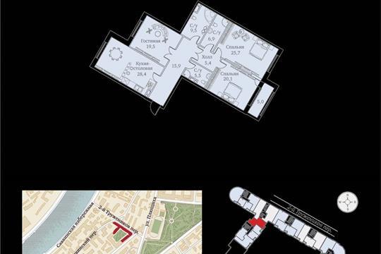 1-комнатная квартира, 143 м<sup>2</sup>, 3 этаж