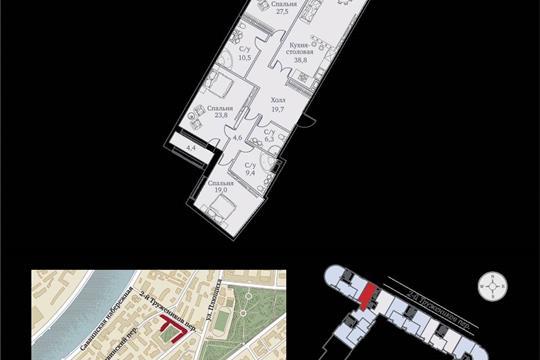 1-комнатная квартира, 167 м<sup>2</sup>, 6 этаж