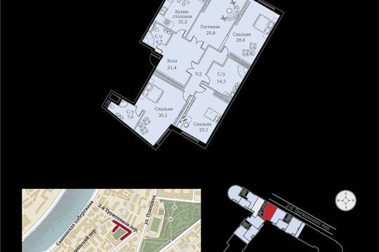 1-комнатная квартира, 209 м<sup>2</sup>, 9 этаж
