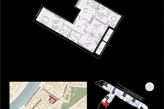 1-комнатная квартира, 159 м<sup>2</sup>, 2 этаж