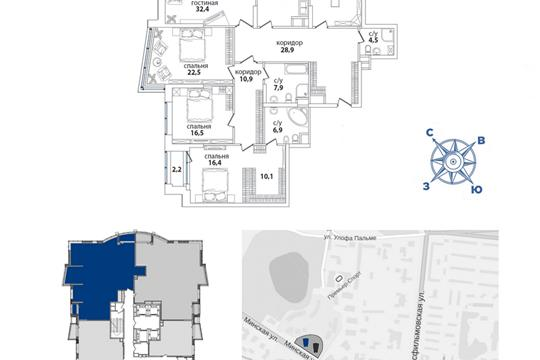 2-комн квартира, 201.7 м2, 6 этаж