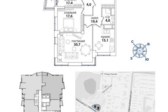 1-комн квартира, 121 м2, 27 этаж