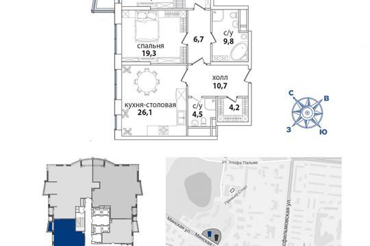 1-комн квартира, 111.1 м2, 29 этаж
