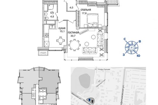 1-комн квартира, 119.3 м2, 30 этаж