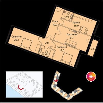 3-комн квартира, 99 м<sup>2</sup>, 18 этаж_1