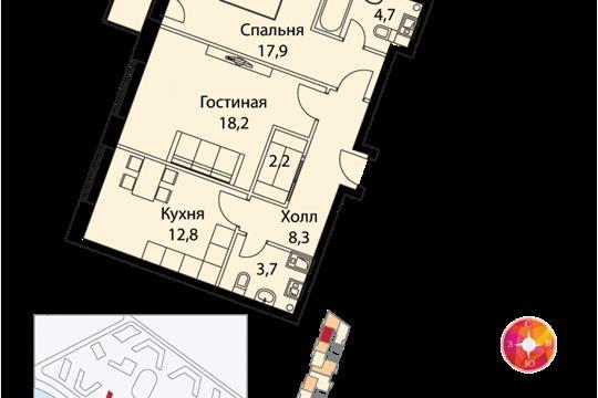 2-комн квартира, 71 м<sup>2</sup>, 18 этаж_1