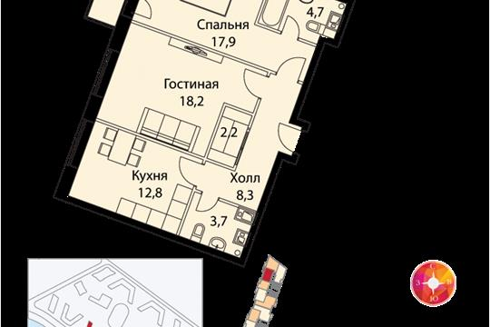 2-комнатная квартира, 71 м<sup>2</sup>, 18 этаж_1