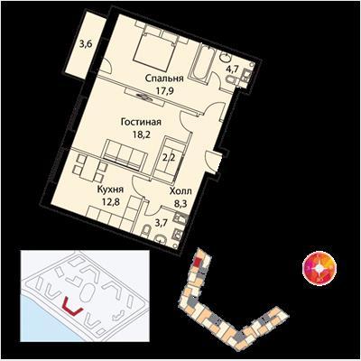 2-комн квартира, 71 м2, 18 этаж - фото 1