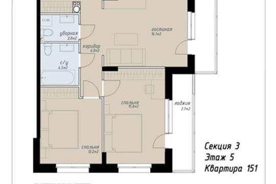 3-комн квартира, 81.6 м2, 5 этаж
