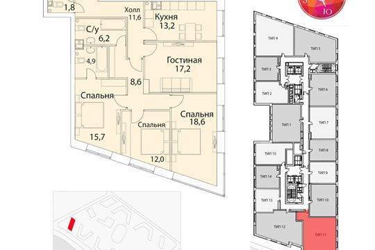 4-комн квартира, 116 м<sup>2</sup>, 13 этаж_1