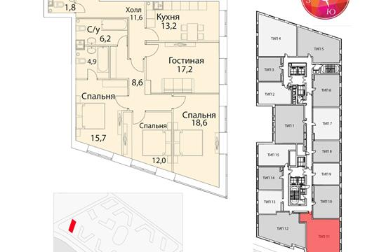 4-комнатная квартира, 116 м<sup>2</sup>, 13 этаж_1