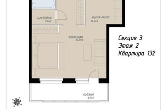 1-комн квартира, 51.5 м2, 2 этаж