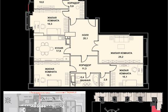 5-комн квартира, 167 м2, 4 этаж