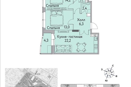 1-комнатная квартира, 68 м<sup>2</sup>, 13 этаж