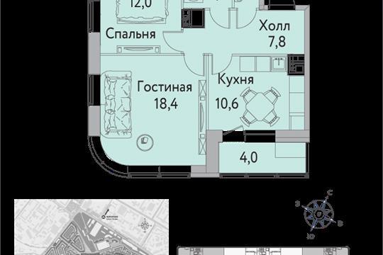 1-комнатная квартира, 58 м<sup>2</sup>, 13 этаж