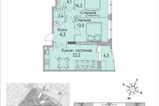 1-комнатная квартира, 69 м<sup>2</sup>, 13 этаж