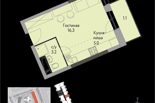 1-комнатная квартира, 26 м<sup>2</sup>, 4 этаж_1