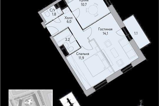 1-комн квартира, 49.5 м<sup>2</sup>, 6 этаж_1