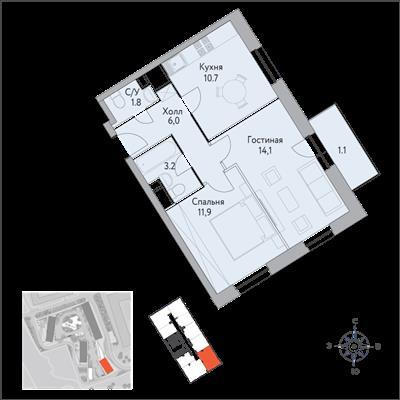 1-комн квартира, 49.5 м2, 6 этаж - фото 1