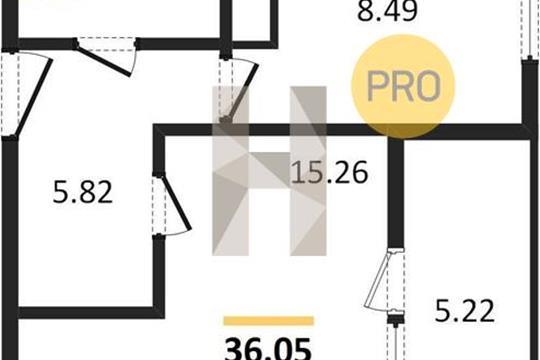 1-комн квартира, 36.5 м2, 18 этаж