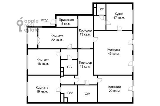 5-комнатная квартира, 198 м<sup>2</sup>, 4 этаж