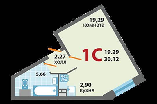 1-комн квартира, 30.12 м2, 1 этаж