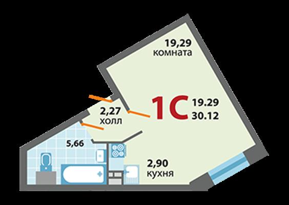 1-комн квартира, 30.12 м2, 1 этаж - фото 1