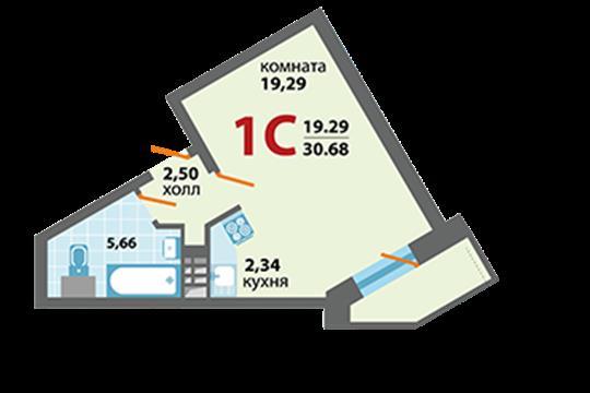 1-комн квартира, 30.68 м2, 6 этаж