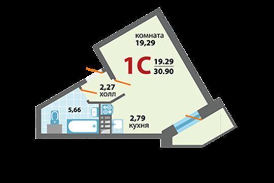 1-комн квартира, 30.9 м2, 2 этаж