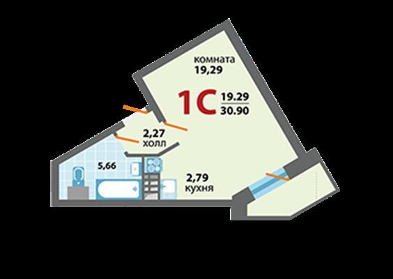 1-комн квартира, 30.9 м2, 2 этаж - фото 1