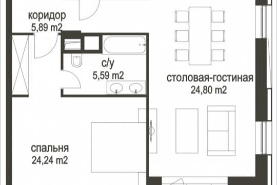 Студия, 77.7 м<sup>2</sup>, 6 этаж