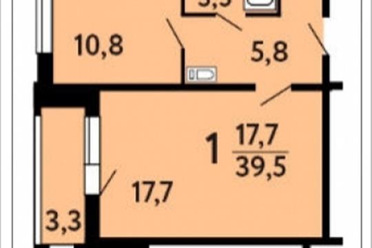 1-комнатная квартира, 39.5 м<sup>2</sup>, 4 этаж