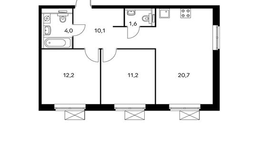 2-комнатная квартира, 59.8 м<sup>2</sup>, 9 этаж