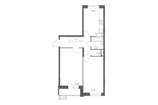 2-комнатная квартира, 55.46 м<sup>2</sup>, 5 этаж