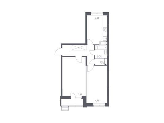 2-комнатная квартира, 55.46 м<sup>2</sup>, 5 этаж_1