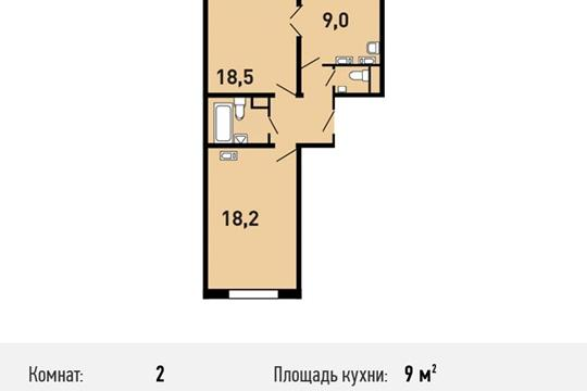 2-комнатная квартира, 57.9 м<sup>2</sup>, 8 этаж