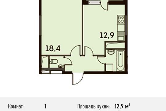 1-комнатная квартира, 41.6 м<sup>2</sup>, 25 этаж