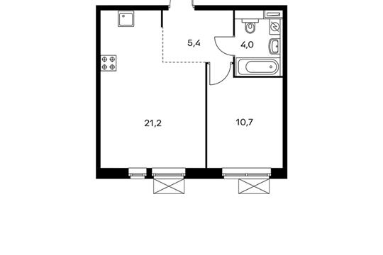 1-комнатная квартира, 41.2 м<sup>2</sup>, 22 этаж_1