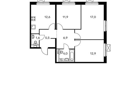 3-комнатная квартира, 72.4 м<sup>2</sup>, 15 этаж