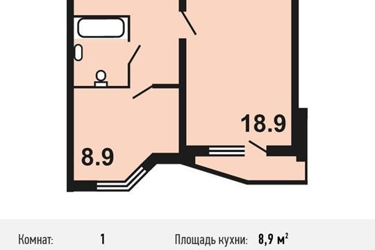1-комнатная квартира, 39.8 м<sup>2</sup>, 17 этаж