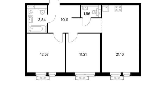 2-комнатная квартира, 60.45 м<sup>2</sup>, 14 этаж