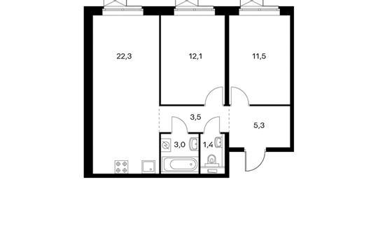 2-комнатная квартира, 59.1 м<sup>2</sup>, 5 этаж