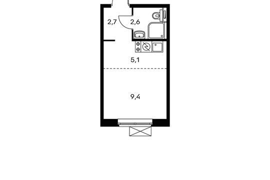 1-комнатная квартира, 19.8 м<sup>2</sup>, 20 этаж