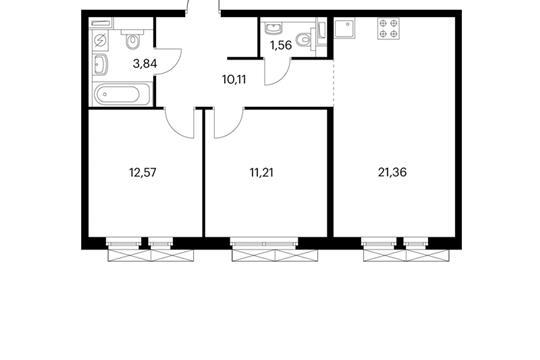 2-комнатная квартира, 60.45 м<sup>2</sup>, 2 этаж