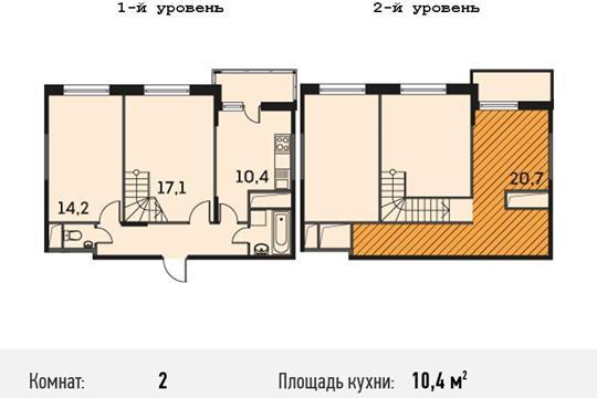 2-комнатная квартира, 74.4 м<sup>2</sup>, 25 этаж