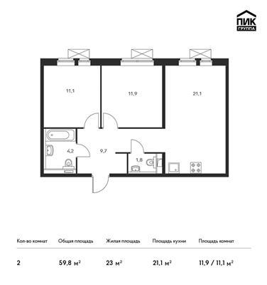 2-комн квартира, 59.8 м<sup>2</sup>, 4 этаж_1
