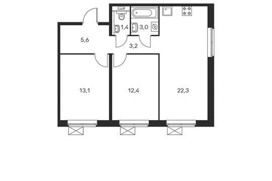 2-комнатная квартира, 61 м<sup>2</sup>, 11 этаж