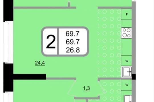 2-комнатная квартира, 69.7 м<sup>2</sup>, 22 этаж