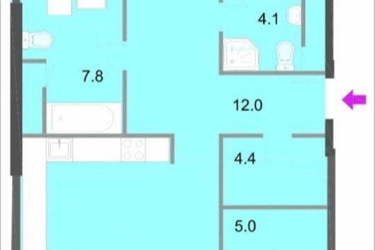 3-комнатная квартира, 112.7 м<sup>2</sup>, 8 этаж